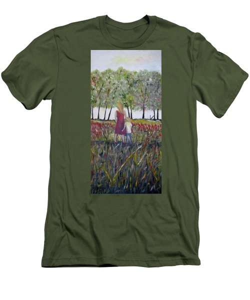 Men's T-Shirt (Slim Fit) featuring the painting Mother And Son by Marilyn  McNish