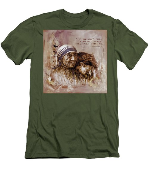 Men's T-Shirt (Slim Fit) featuring the painting Mother Teresa Of Calcutta  by Gull G