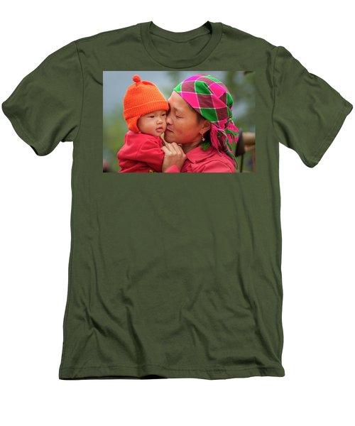 Men's T-Shirt (Athletic Fit) featuring the photograph Motherly Love, Sa Pa, 2014 by Hitendra SINKAR