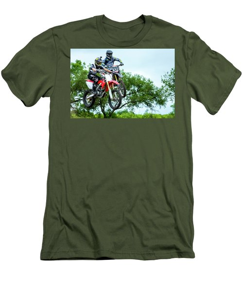 Men's T-Shirt (Slim Fit) featuring the photograph Motocross Battle by David Morefield