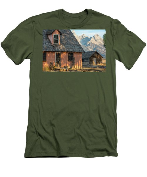 Men's T-Shirt (Athletic Fit) featuring the photograph Moulton Homestead - Pink House At Morning Light by Colleen Coccia