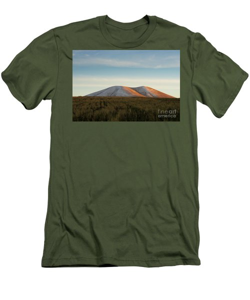 Mount Gutanasar In Front Of Wheat Field At Sunset, Armenia Men's T-Shirt (Slim Fit) by Gurgen Bakhshetsyan