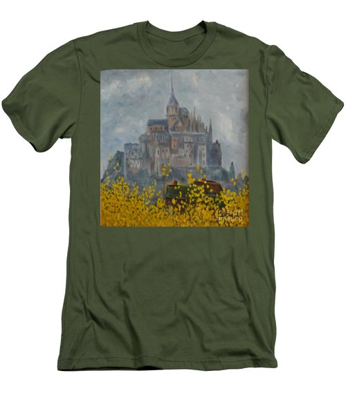 Men's T-Shirt (Athletic Fit) featuring the painting Mount Saint Michael by Rod Ismay
