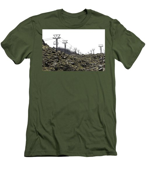 Men's T-Shirt (Slim Fit) featuring the photograph Mountain Cable Road Waiting For Snow. Mount Ruapehu. New Zealand by Yurix Sardinelly