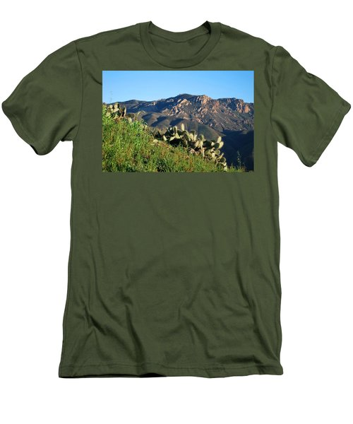 Men's T-Shirt (Athletic Fit) featuring the photograph Mountain Cactus View - Santa Monica Mountains by Matt Harang