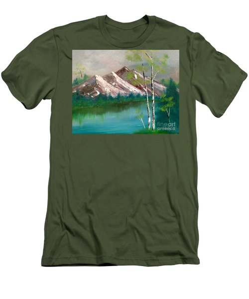 Men's T-Shirt (Athletic Fit) featuring the painting Mountain Lake by Denise Tomasura