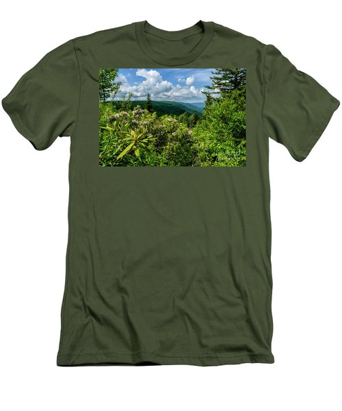 Men's T-Shirt (Slim Fit) featuring the photograph Mountain Laurel And Ridges by Thomas R Fletcher