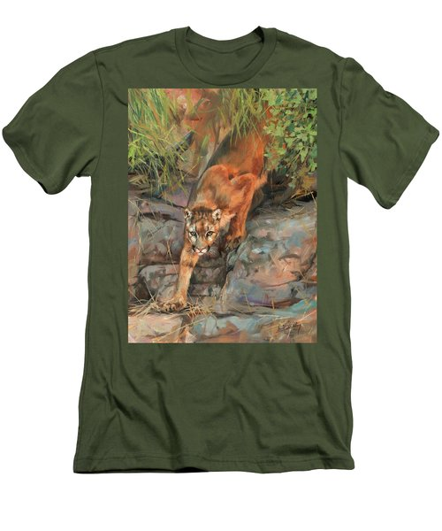 Men's T-Shirt (Slim Fit) featuring the painting Mountain Lion 2 by David Stribbling