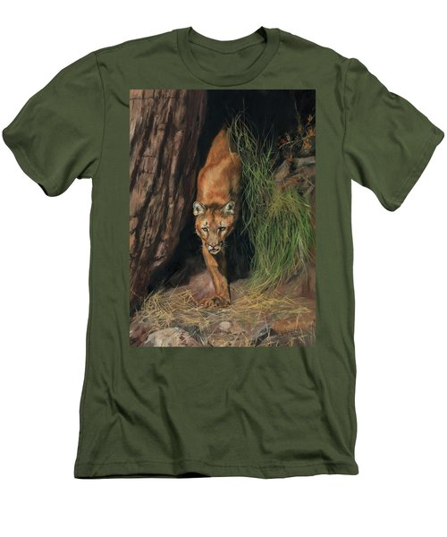 Men's T-Shirt (Slim Fit) featuring the painting Mountain Lion Emerging From Shadows by David Stribbling