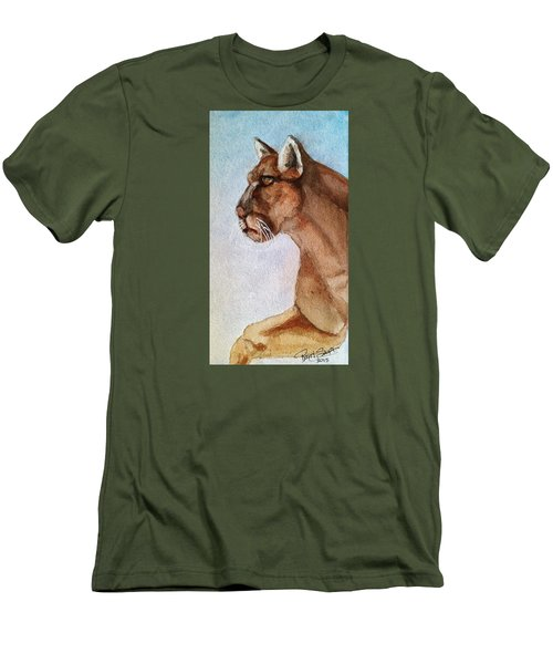 Mountain Lion Men's T-Shirt (Slim Fit) by Rand Swift