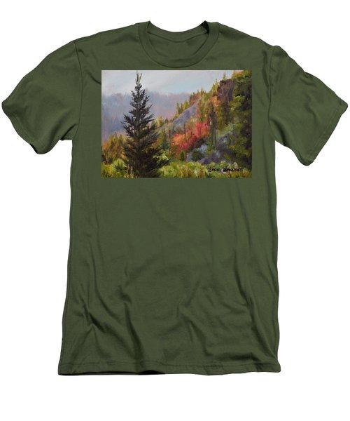 Mountain Slope Fall Men's T-Shirt (Slim Fit) by Lori Brackett