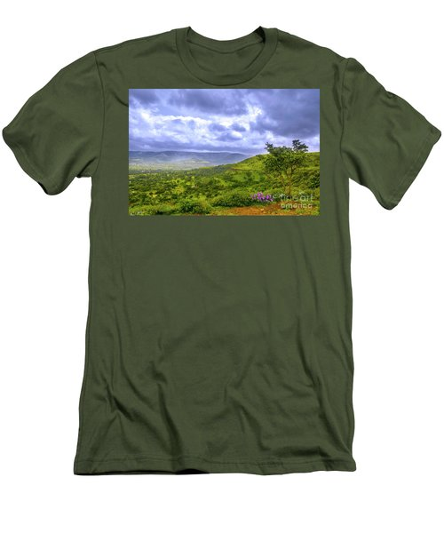 Men's T-Shirt (Slim Fit) featuring the photograph Mountain View by Charuhas Images