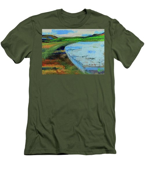Men's T-Shirt (Athletic Fit) featuring the painting Mouth Of The Creek by Walter Fahmy