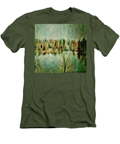 Men's T-Shirt (Slim Fit) featuring the painting Movie A Chance In The World Placid Lake Frozen In The Winter Fall Ice Bitter Cold Uninviting Cool Pa by MendyZ