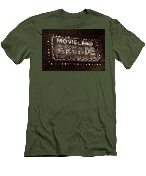 Men's T-Shirt (Slim Fit) featuring the photograph Movieland Arcade - Gritty by Stephen Stookey