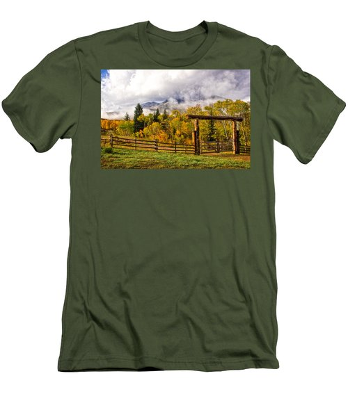 Mt Sopris Under The Clouds Men's T-Shirt (Slim Fit) by Ronda Kimbrow