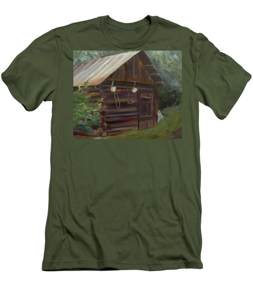 Men's T-Shirt (Slim Fit) featuring the painting Mulberry Farms Grainery by Donna Tuten