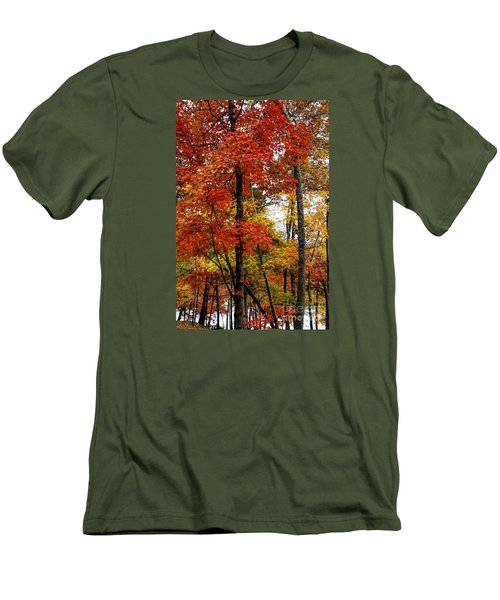 Multi-colored Leaves Men's T-Shirt (Slim Fit) by Barbara Bowen
