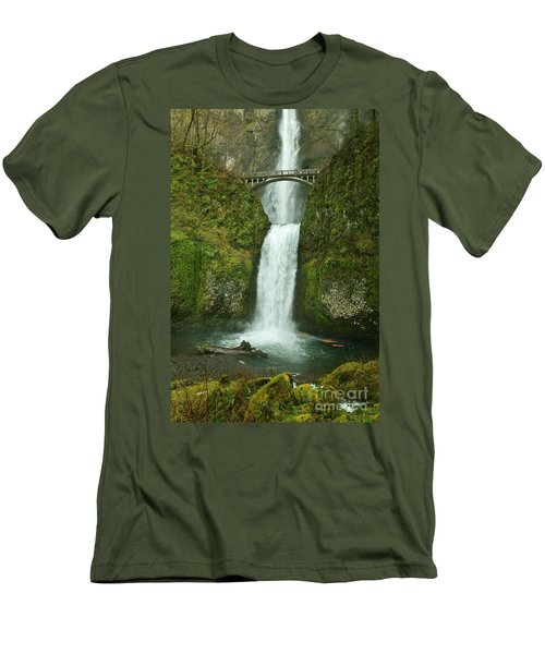 Multnomah Falls Men's T-Shirt (Slim Fit) by Sheila Ping
