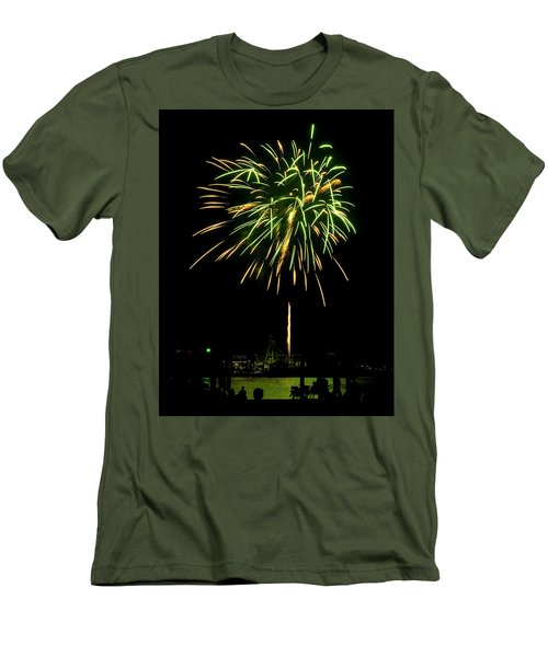 Men's T-Shirt (Slim Fit) featuring the photograph Murrells Inlet Fireworks by Bill Barber