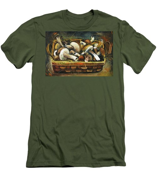 Men's T-Shirt (Slim Fit) featuring the painting Mushrooms by Mikhail Zarovny