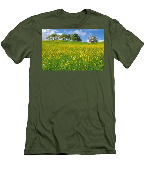 Men's T-Shirt (Slim Fit) featuring the photograph Mustard Field by Mark Greenberg