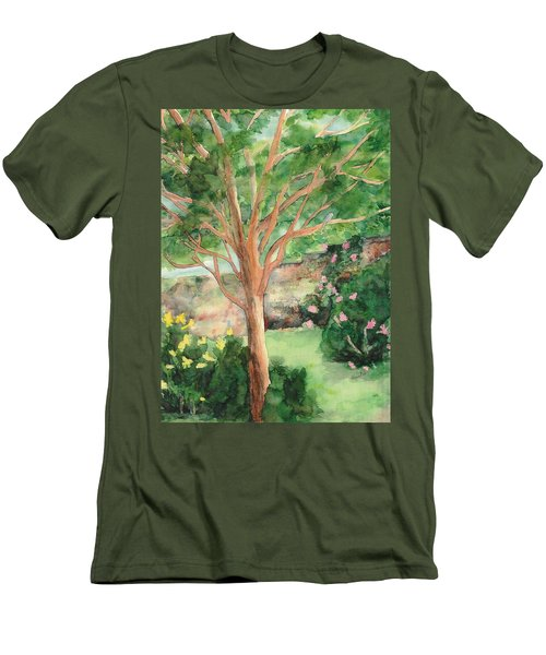 Men's T-Shirt (Slim Fit) featuring the painting My Backyard by Vicki  Housel