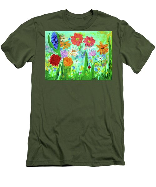 My Happy Garden 1  Men's T-Shirt (Slim Fit) by Haleh Mahbod