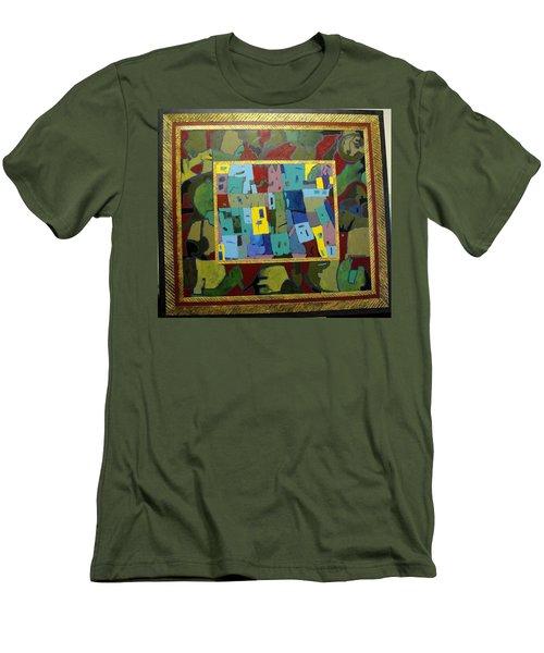 Men's T-Shirt (Slim Fit) featuring the painting My Little Town by Bernard Goodman