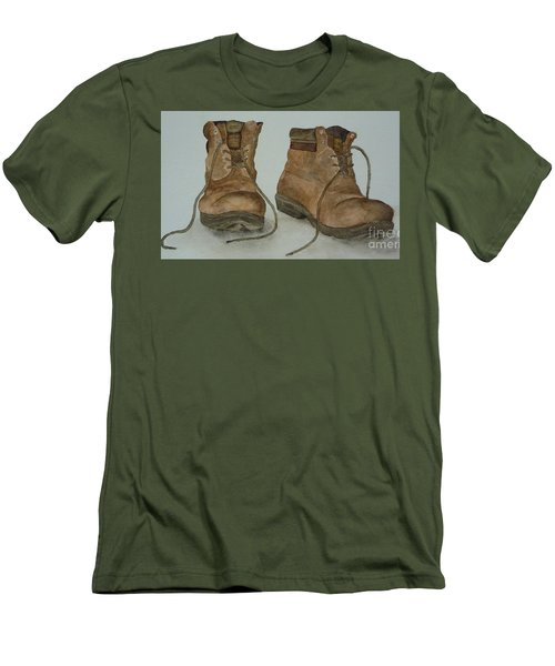 Men's T-Shirt (Slim Fit) featuring the painting My Old Hiking Boots by Annemeet Hasidi- van der Leij
