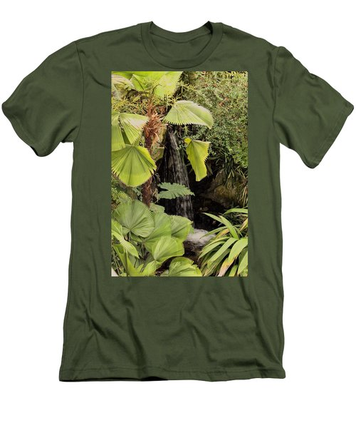 Men's T-Shirt (Athletic Fit) featuring the photograph Myriad Botanical Gardens Waterfall by Sheila Brown