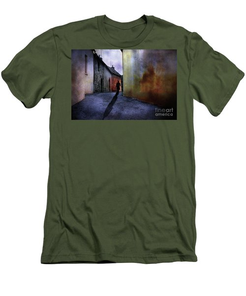Men's T-Shirt (Slim Fit) featuring the mixed media Mystery Corner by Jim  Hatch