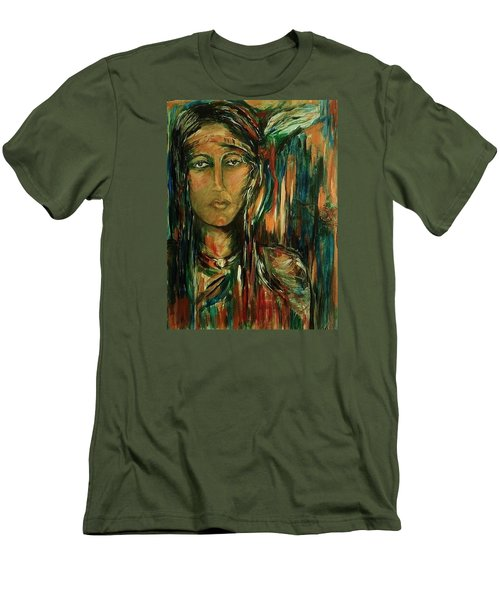 Men's T-Shirt (Slim Fit) featuring the painting Nancy Ward Beloved Woman Nanye by Dawn Fisher