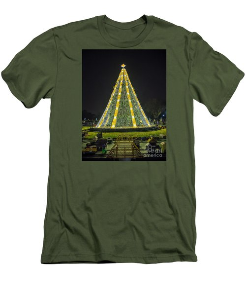Men's T-Shirt (Slim Fit) featuring the photograph National Christmas Tree #1 by Sandy Molinaro