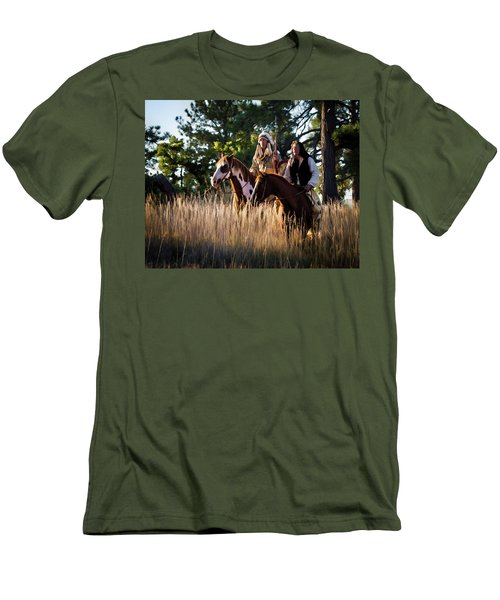 Native Americans On Horses In The Morning Light Men's T-Shirt (Slim Fit) by Nadja Rider