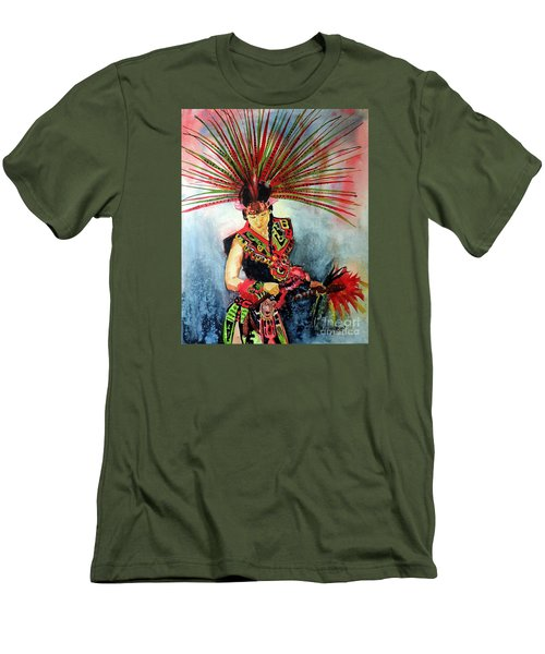 Men's T-Shirt (Slim Fit) featuring the painting Native Dancer by Tom Riggs