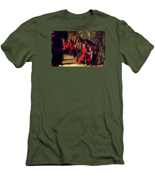 Men's T-Shirt (Slim Fit) featuring the photograph Native Dancers by Lewis Mann