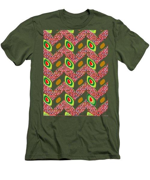Nature Wonderful Creeper Leaves Leaf Show Up From Cavities Of Brick Tiles Navinjoshi Fineartamerica  Men's T-Shirt (Slim Fit) by Navin Joshi