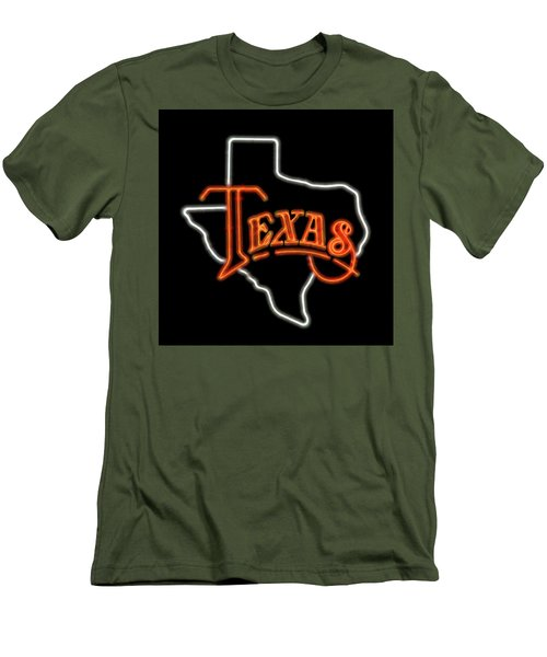 Men's T-Shirt (Slim Fit) featuring the digital art Neon Texas by Daniel Hagerman