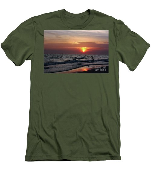 Men's T-Shirt (Slim Fit) featuring the photograph Net Casting by Terri Mills