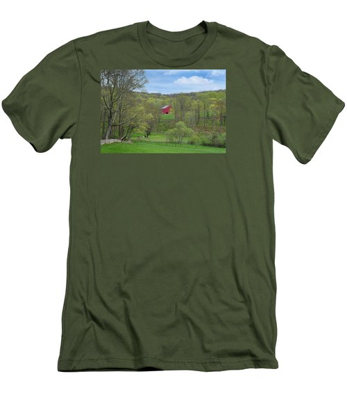 Men's T-Shirt (Slim Fit) featuring the photograph New England Spring Pasture by Bill Wakeley