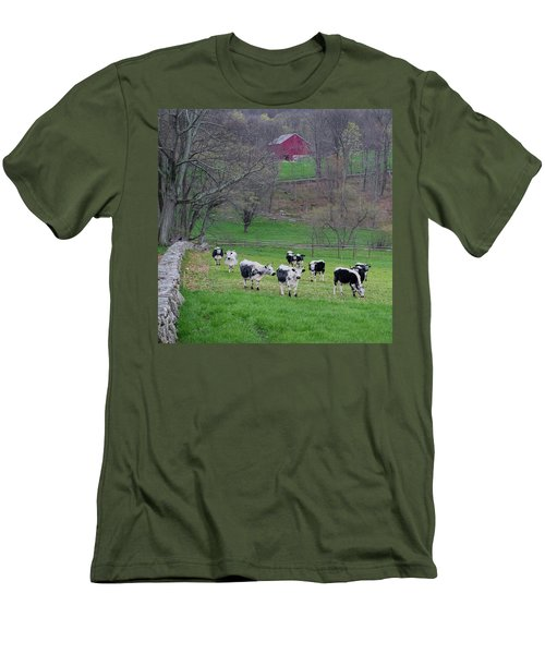 Men's T-Shirt (Slim Fit) featuring the photograph New England Spring Pasture Square by Bill Wakeley