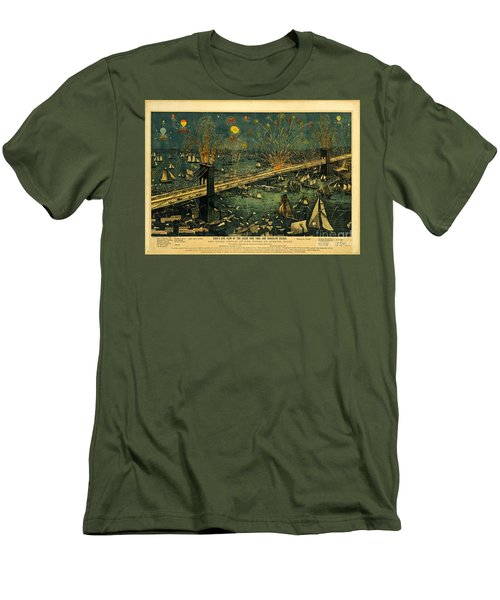 New York And Brooklyn Bridge Opening Night Fireworks Men's T-Shirt (Slim Fit) by John Stephens
