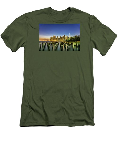 New York City From Brooklyn Men's T-Shirt (Slim Fit) by Rafael Quirindongo