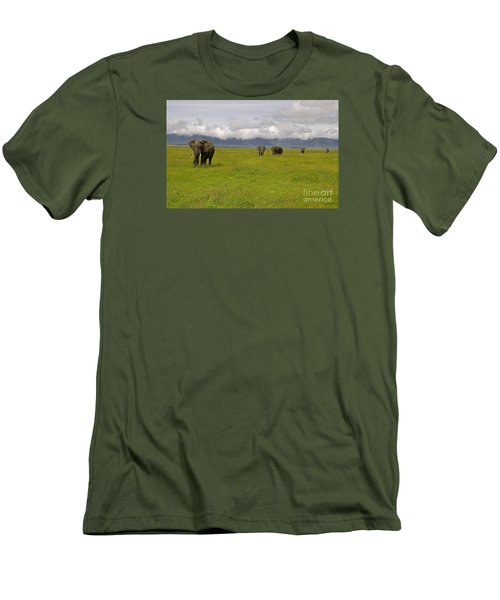 Men's T-Shirt (Slim Fit) featuring the photograph Ngorongoro Elephants-signed-#0135 by J L Woody Wooden