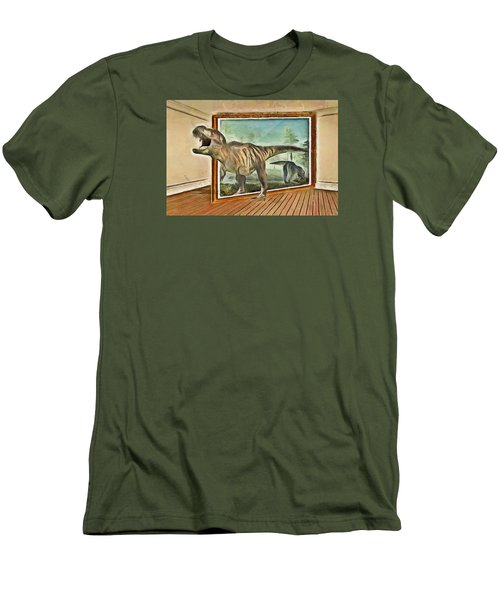 Men's T-Shirt (Slim Fit) featuring the painting Night At The Art Gallery - T Rex Escapes by Wayne Pascall