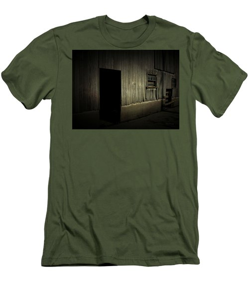 Men's T-Shirt (Slim Fit) featuring the photograph Night Barn by Cynthia Lassiter