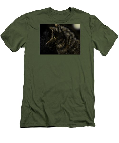 Night Silent Wolf Men's T-Shirt (Athletic Fit)