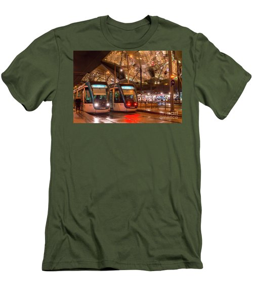 Night View Of Two Trams At Glories Station  Men's T-Shirt (Athletic Fit)