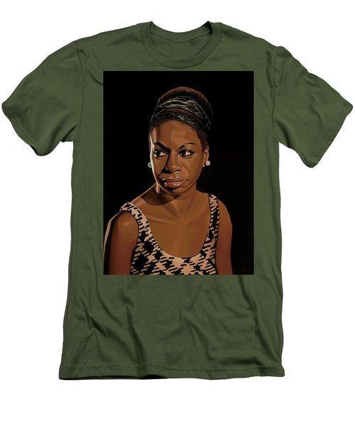 Nina Simone Painting 2 Men's T-Shirt (Slim Fit) by Paul Meijering